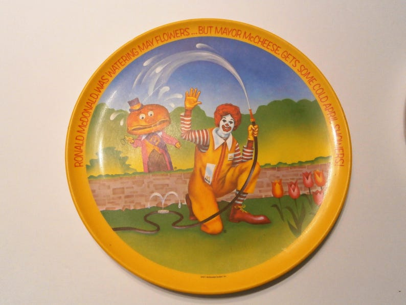 "Lexington Vintage 1977 Ronald McDonald 10/"" PLASTIC PLATE Spring Mayor McCheese"