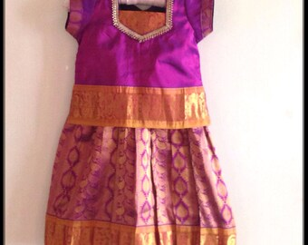 d9ad1280d1e64 Kids kachipuram pattu pavada south indian traditional dress girls silk  skirt and top