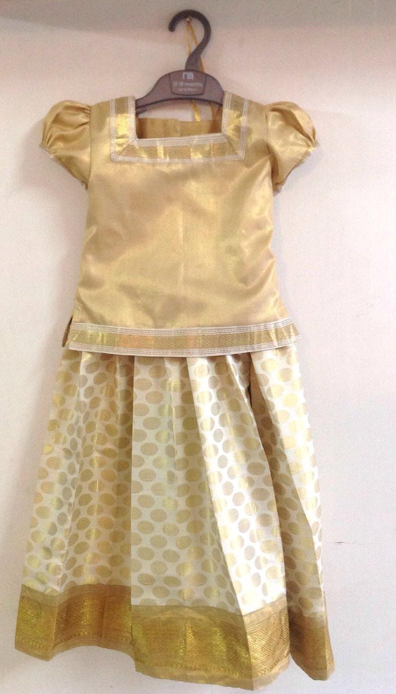 9510955648 Kids brocade pattu pavada south indian traditional dress girls | Etsy
