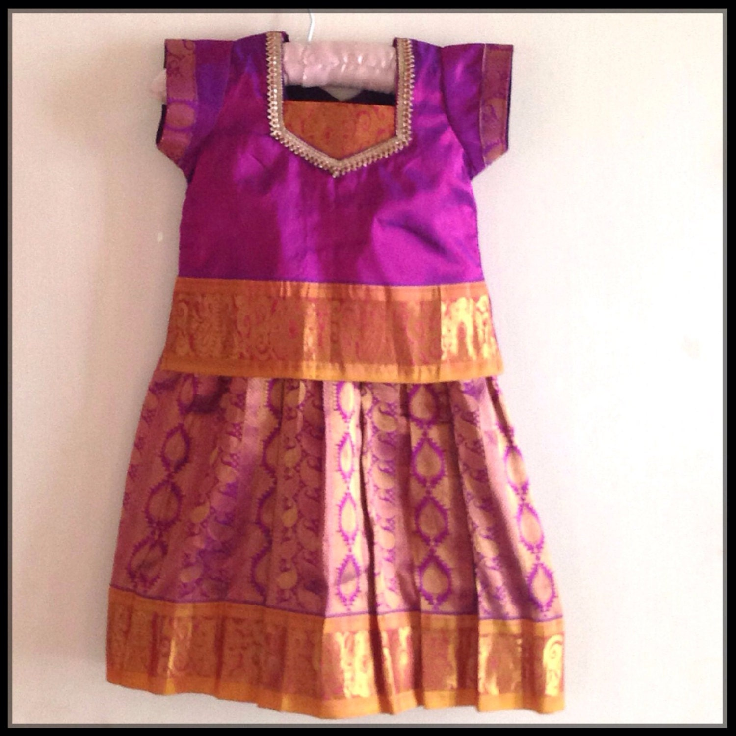 f2b97e992e61b Kids kachipuram pattu pavada south indian traditional dress | Etsy