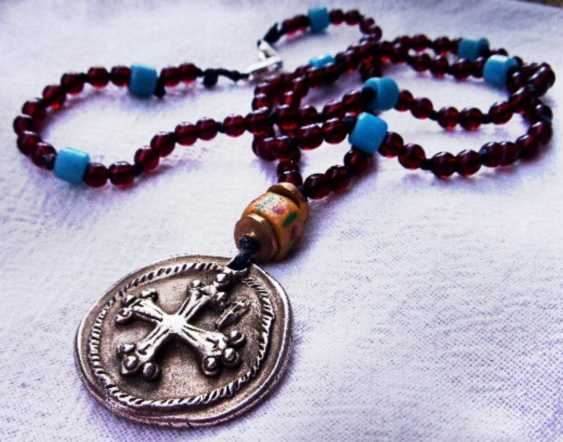 Hippy Shabby Chic Necklace Knights Templar Seal Pendant, Occitan Cross