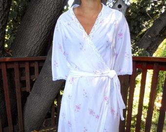 Vintage Val Mode Peignoir Robe Nightgown Set Floral Pattern Size Medium 488ed4430