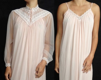 Vintage Shannon Lee New York Pale Pink Long Nylon Lace Nightgown Peignoir Set Medium M