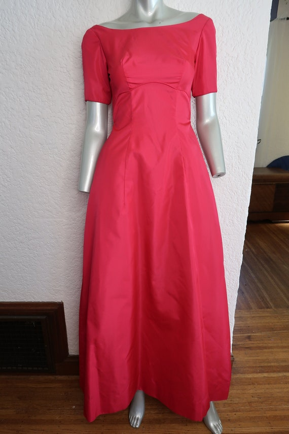 Vintage Emma Domb Red Taffeta Evening Dress Long E