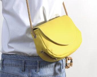 Bag, yellow Bag, Messenger Bag, vegan, Mustard, Safran, Gift for Woman