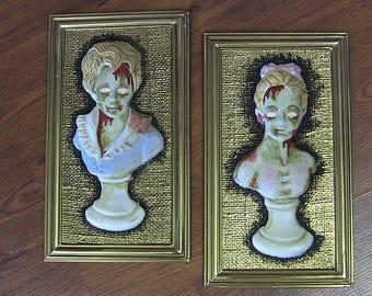 "Zombie Wall Art  - ""Gruesome Twosome"" Oddity Horror Decor"