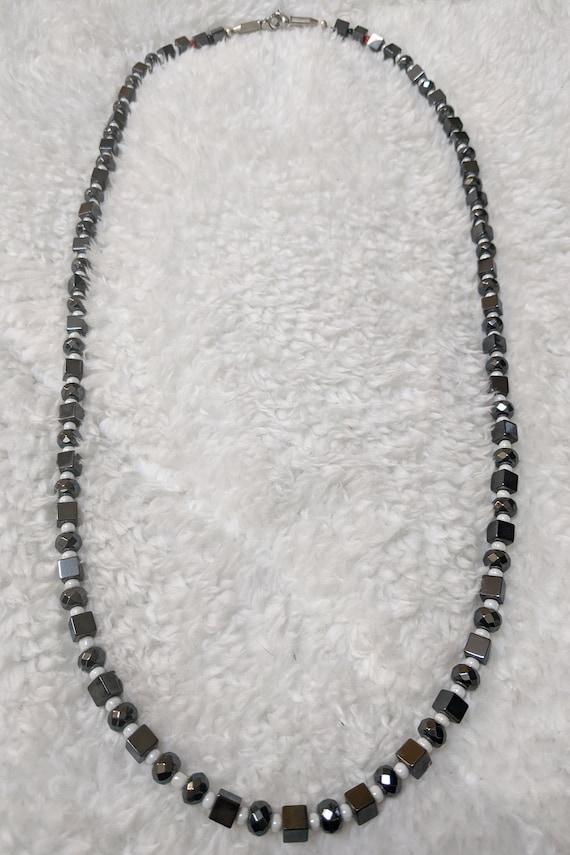 Hematite X Pearl white glass X CHOKER 21 incher