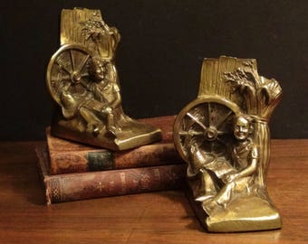 Cast Brass Plated Book Ends - Philadelphia Manufacturing Company - PM Craftsman