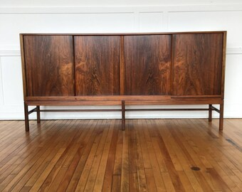 Mid Century Danish Rosewood Sideboard Cabinet Bar by Kurt Ostervig