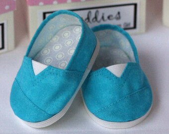 MADDIES - Toms Style Shoes for American Girl,18 inch Doll - Mottled Aqua
