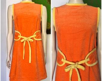 3464dbda129 70 s Vintage MOD orange VELOUR terry towelling A line dress S-M