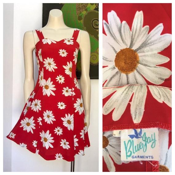 80's vintage red DAISY print skater dress S