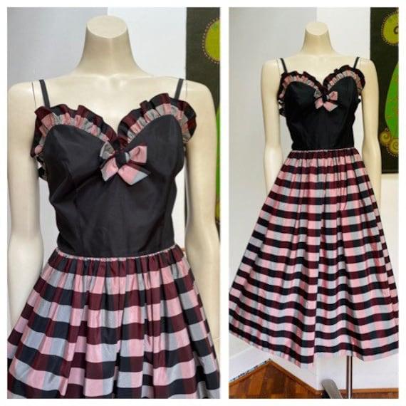 Vintage 80s does 50s Sash Dress Size 8-10 AU