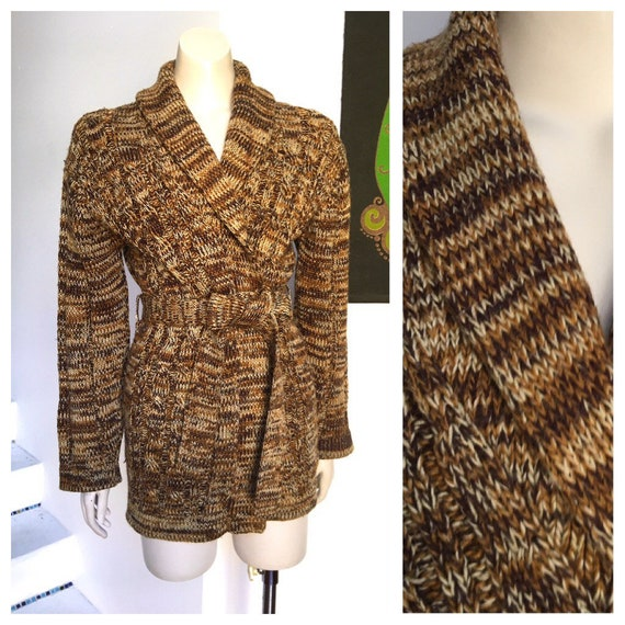 70s Vintage Brown flecked tweed style cable knit j