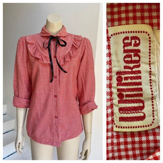 70's vintage red white gingham twill ruffle trim w