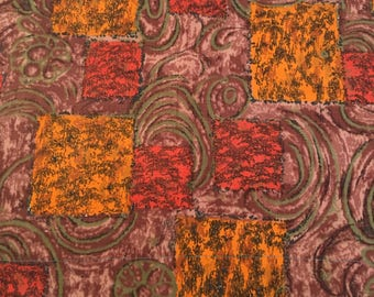 50's Vintage Mid century orange and brown textured cotton fabric