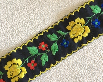 Vintage embroidered folk style trim