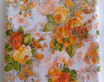 Vintage Orange floral print pure cotton fabric