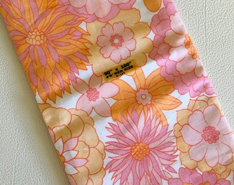 Vintage New unused pink orange flower print pure cotton sheet