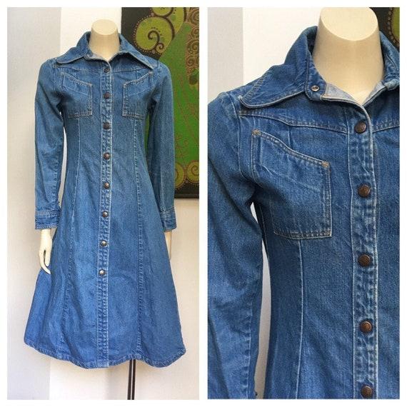70s Vintage Landlubber long collar denim dress S