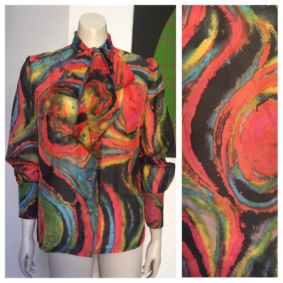 60's vintage PUSSY BOW  psychedelic sheer blouse M