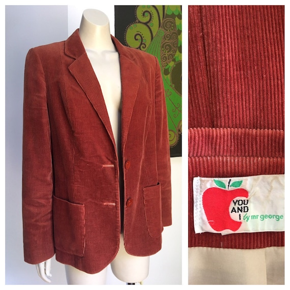 70's vintage Rust Corduroy blazer  M