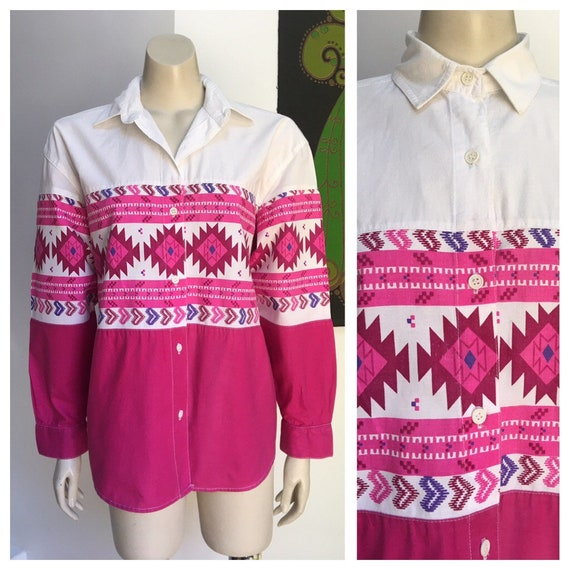 Vintage pink psychedelic western shirt M