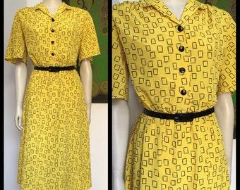 80's vintage BRIGHT Yellow black graphic print dress M-L