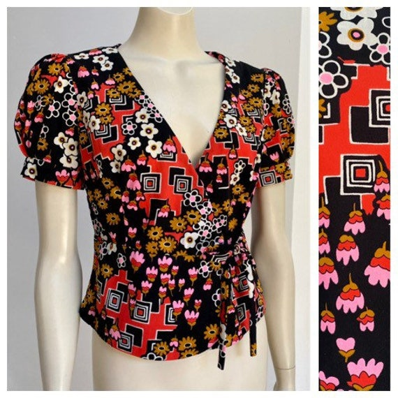 70's vintage Psychedelic wrap top puffed sleeve pi