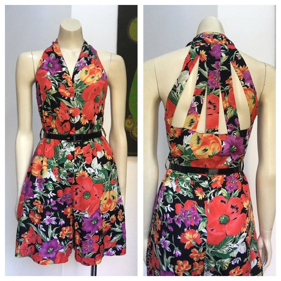 80s Vintage Cage back colourful flower print plays