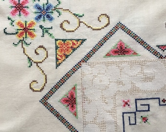 Vintage cross stitch Embroidered  table cloth ~1.2 x 1.2m