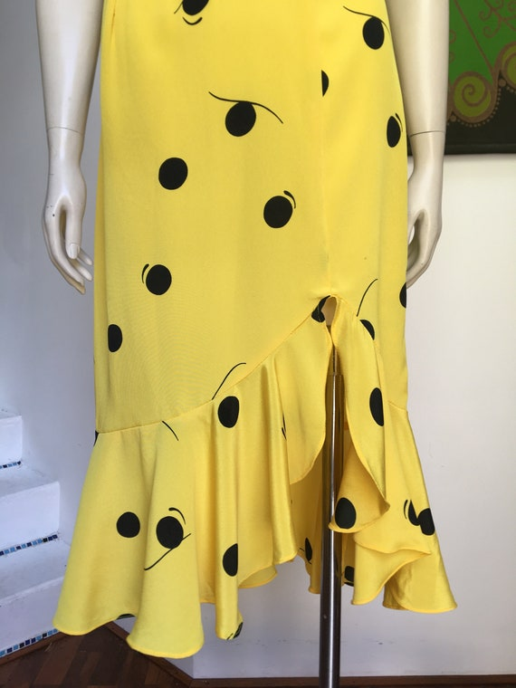 Vintage 80s ARC low BACK bright yellow frilled he… - image 3