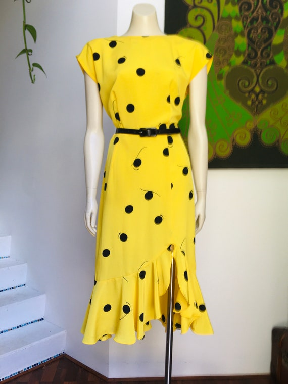 Vintage 80s ARC low BACK bright yellow frilled he… - image 2