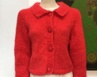 Vintage Red MOHAIR hand knitted cardigan M