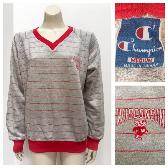 80's Vintage Wisconsin Badgers Champion grey red s