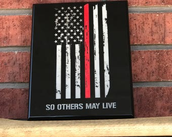 "Fire fighter award plaque 8""x10"" distressed american flag"
