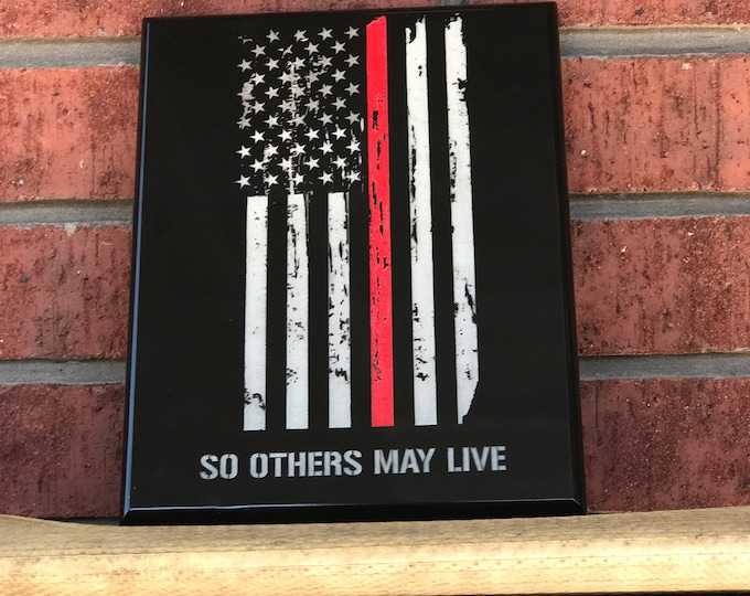 """Fire fighter award plaque 8""""x10"""" distressed american flag"""