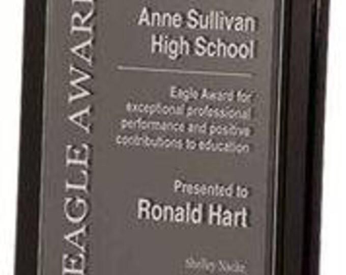 Acrylic firefighter award plaque cherry wood piano finish