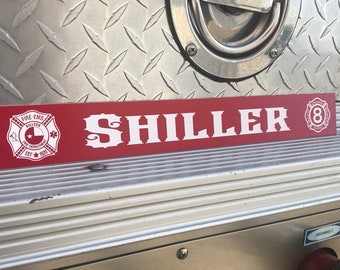 Firefighter gear locker name plate