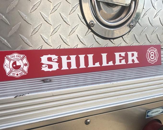Firefighter gear locker name plate