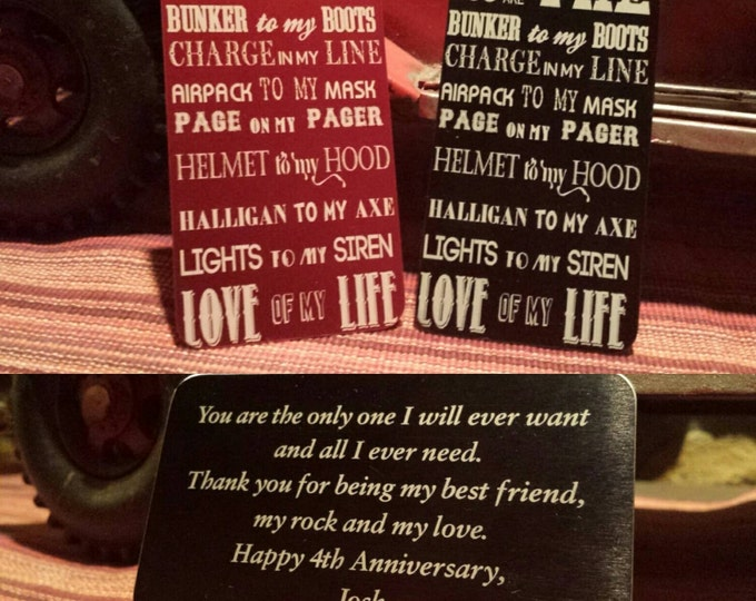 Custom laser engraved wallet card. These make great gifts for every occasion.