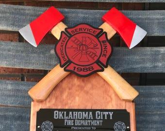 Crossed axe firefighter gift, fire fighter award