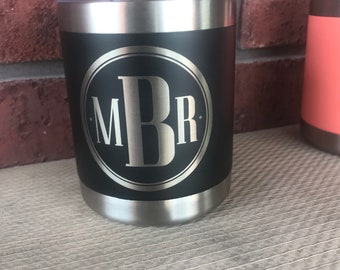Pre-Coated YETI 10oz Lowball with laser engraved monogram or image