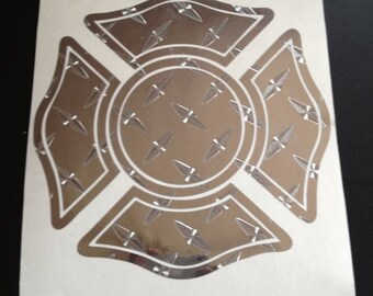 Diamond-plate Maltese Cross decal