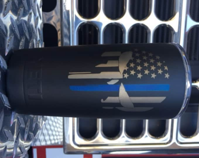 Thin Blue, or Red Line punisher tumbler