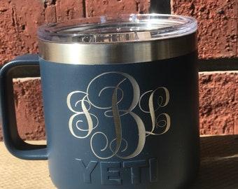 Pre-Coated YETI 14 oz MUG  with laser engraved monogram or image