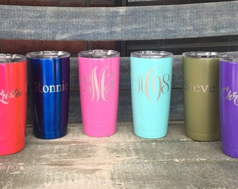 20 oz laser engraved and Powder Coated YETI,Polar Camel. Great for wedding party gifts