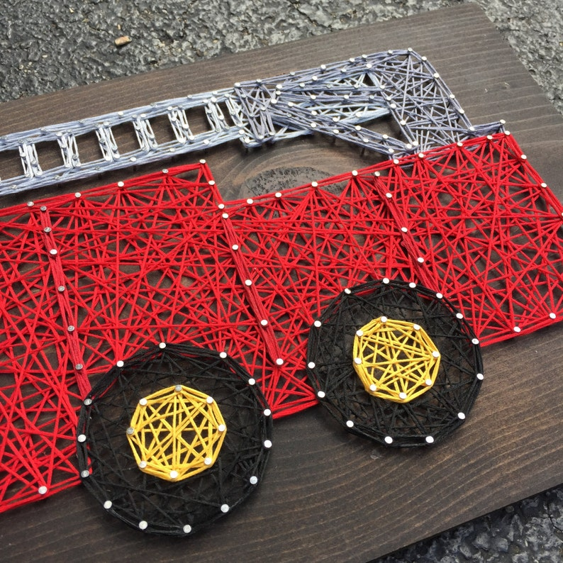 MADE TO ORDER String Art Firetruck Sign