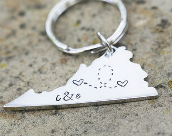 Custom State Keychain - Virginia Keychain Stainless Steel - Going Away Gift - Long Distance Relationship Gift Personalized Message