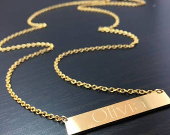 Stainless Steel Bar Name Necklace